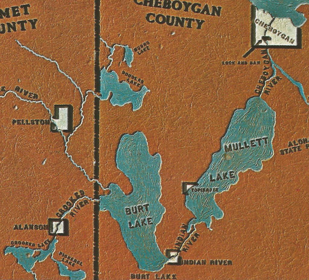 Michigan emmet county alanson -  Ne Cheboygan Indian River Alanson Mi Vintage Inland Waterway Map Card Emmet Cheboygan County Michigan