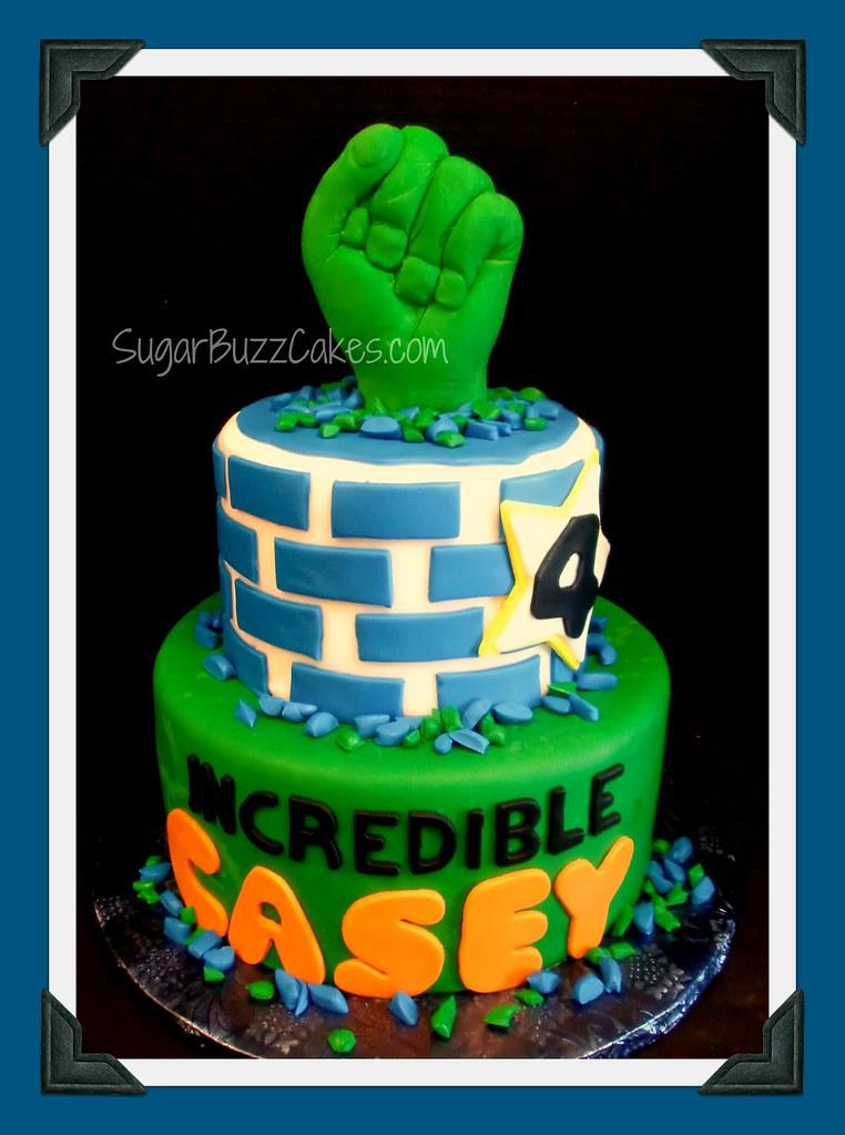 Pleasing Incredible Hulk Birthday Cake Carol Flickr Personalised Birthday Cards Veneteletsinfo