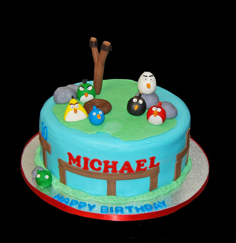 10th birthday cake for an Angry Birds themed party | by Sweet Shoppe Mom and Simply Sweets