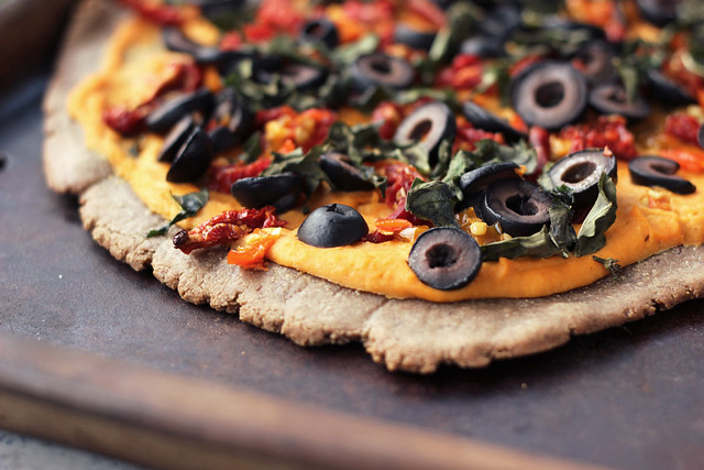 Whole-Grain Hummus Pizza - Gluten-free + Vegan