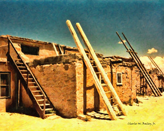Digital Oil Painting of the Acoma Pueblo | by Charles W. Bailey, Jr., Digital Artist