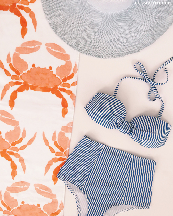 crab beach towel_preppy striped bow bikini