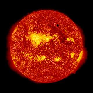 Image of Venus transit taken by NASA's Solar Dynamics Observatory (304 Angstrom)<br />NASA photo 7158542827_b177ba2b55_n.jpg