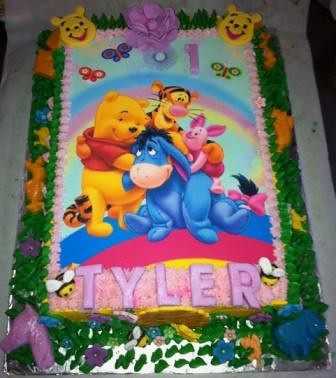 Winnie The Pooh Sheet Cake With Decor Edible Print Willi Probst
