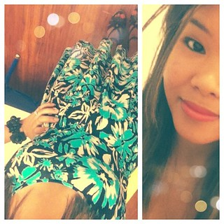 #OOTD: Teal, black and white floral Gap dress, black flower bracelet from the Philippines and Black wedges from Old Navy. | by krizzia kaye