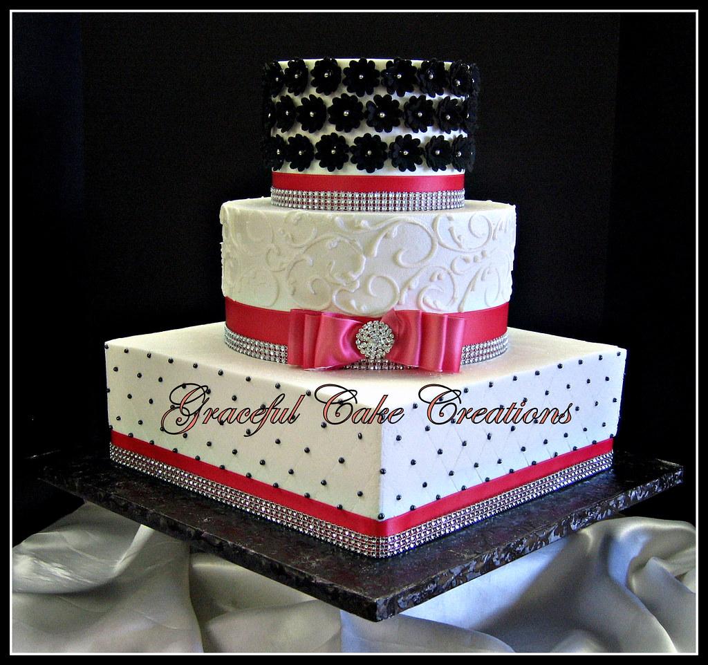 Elegant Pink and Black Wedding Cake with Bling | Grace Tari | Flickr