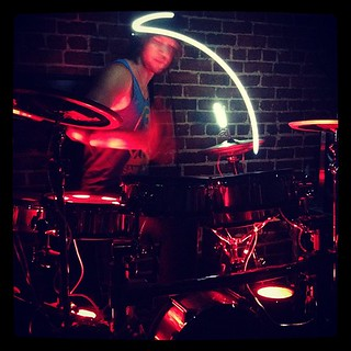 He drums with light sticks. No bigs. | by Sleepless in San Francisco