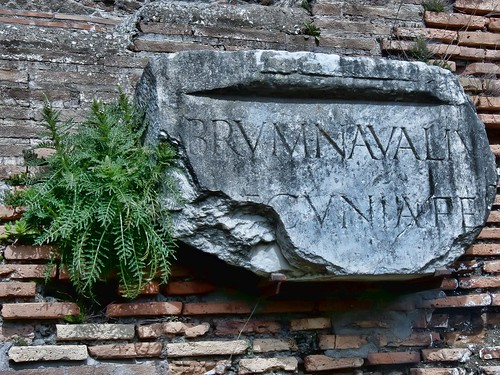 Fragment of an inscription on a building in the ancient Roman port city of Ostia (HDR) | by mharrsch