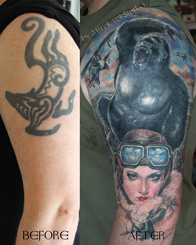 tattoo cover up with King Kong by Mirek vel Stotker | by stotker