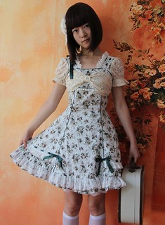 Infanta_Off_the_Shoulder_Worsted_Printed_Cotton_Lolita_Dress_1 | by Miccostumes.com