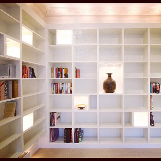 ... Contemporary White Bookcase On Three Walls. Two Sections, The Left And  Right Are Floating