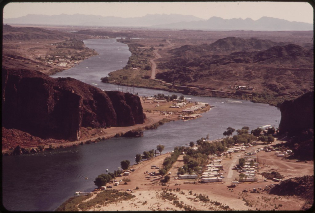 On The Colorado River Below Parker Dam Arizona Is On The Left California On