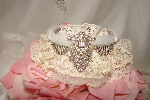 Vintage Lace & Rhinestone Bangle | by Treasured Heirlooms