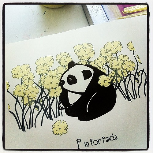 3rd & last color! Fresh new P is for Panda Alphabet Prints. #processpics #silkscreen #nurseryart | by strawberryluna