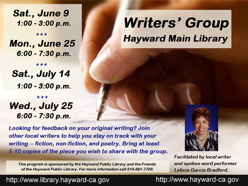 Peer Writers' Group @ Main Library:  June 9 & 25, July 14 & 25, 2012 | by Hayward Public Library