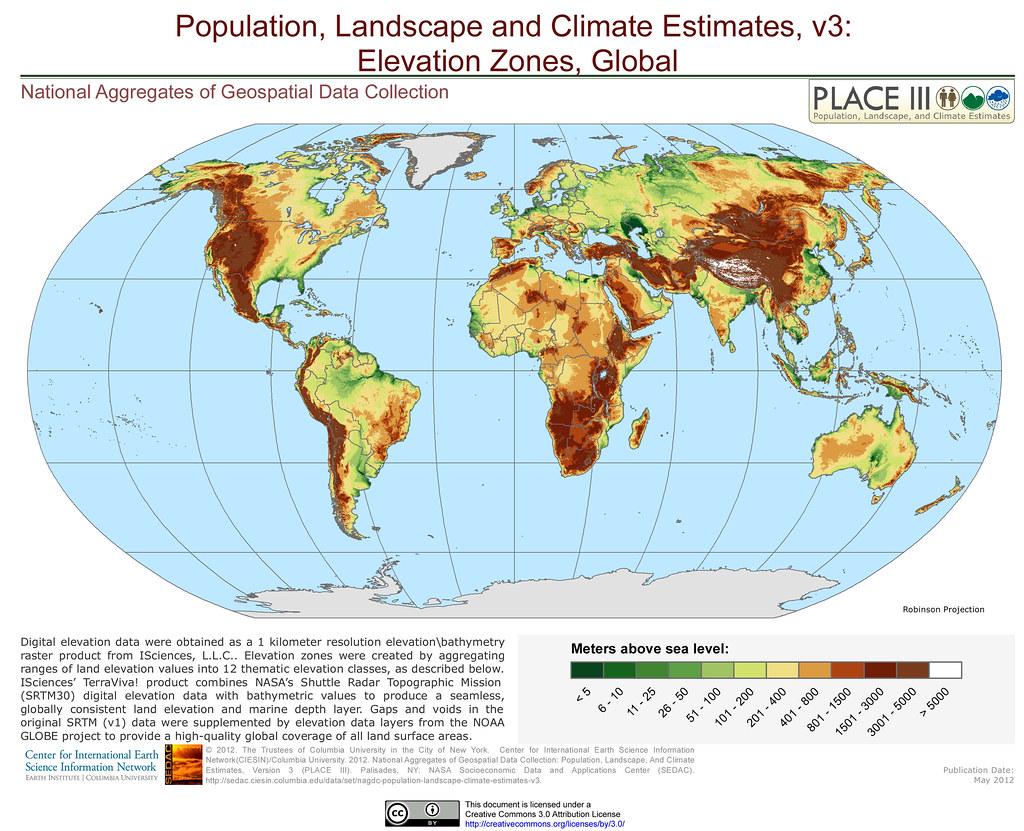 Elevation zones global digital elevation data were obtain flickr elevation zones global by sedacmaps gumiabroncs Gallery