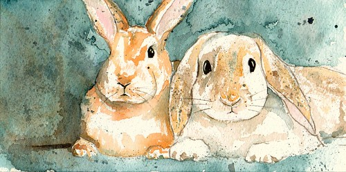 Watercolor Bunnies | by Intheartroom!