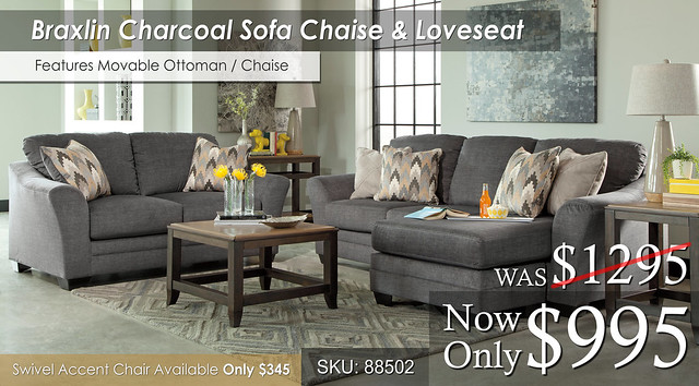 Braxlin Charcoal Sofa Chaise and Loveseat