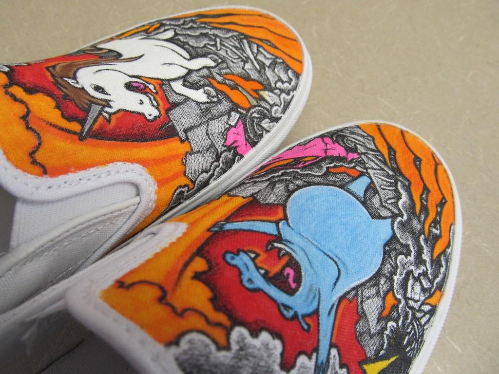 97c583e15430 ... Hippo   Unicorn Custom Vans Slip-ons