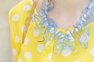 dotted_blouse_diy_necklace | by Hearabouts