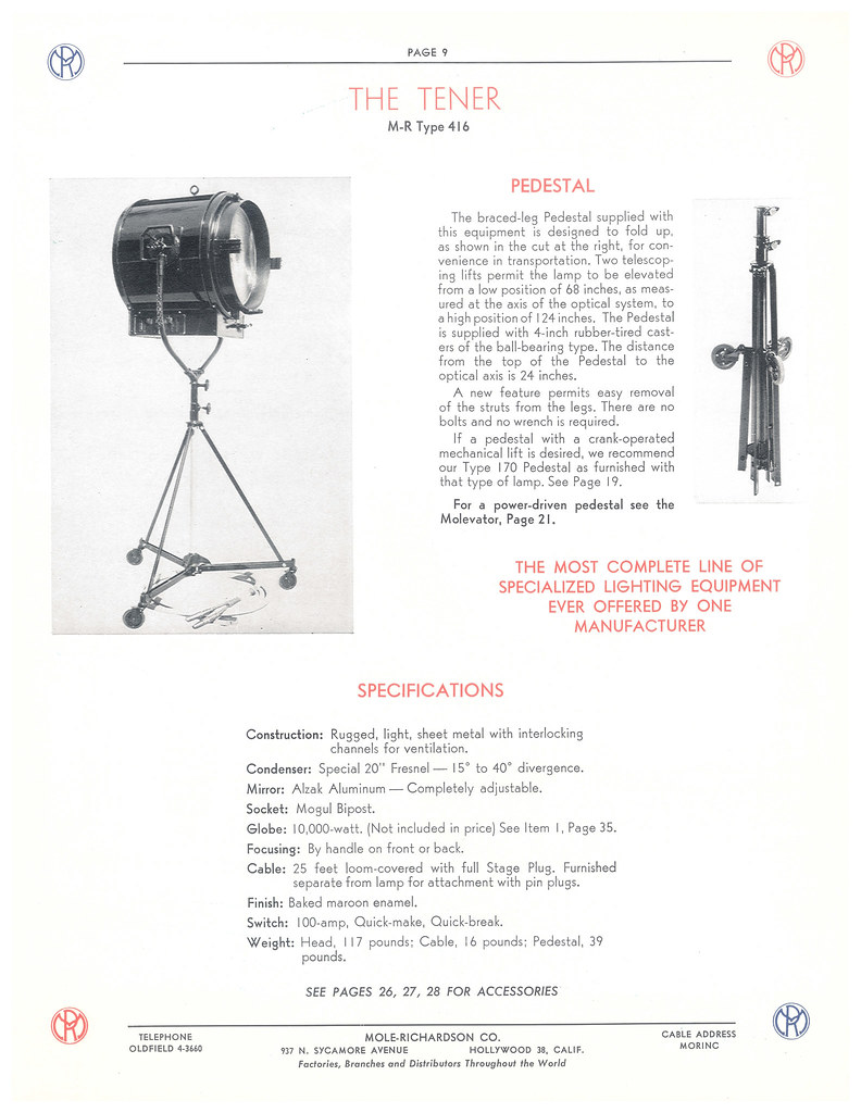 Type Mr 416 Molecom Mole Richardson Co Flickr Hollywood Lighting Diagram By