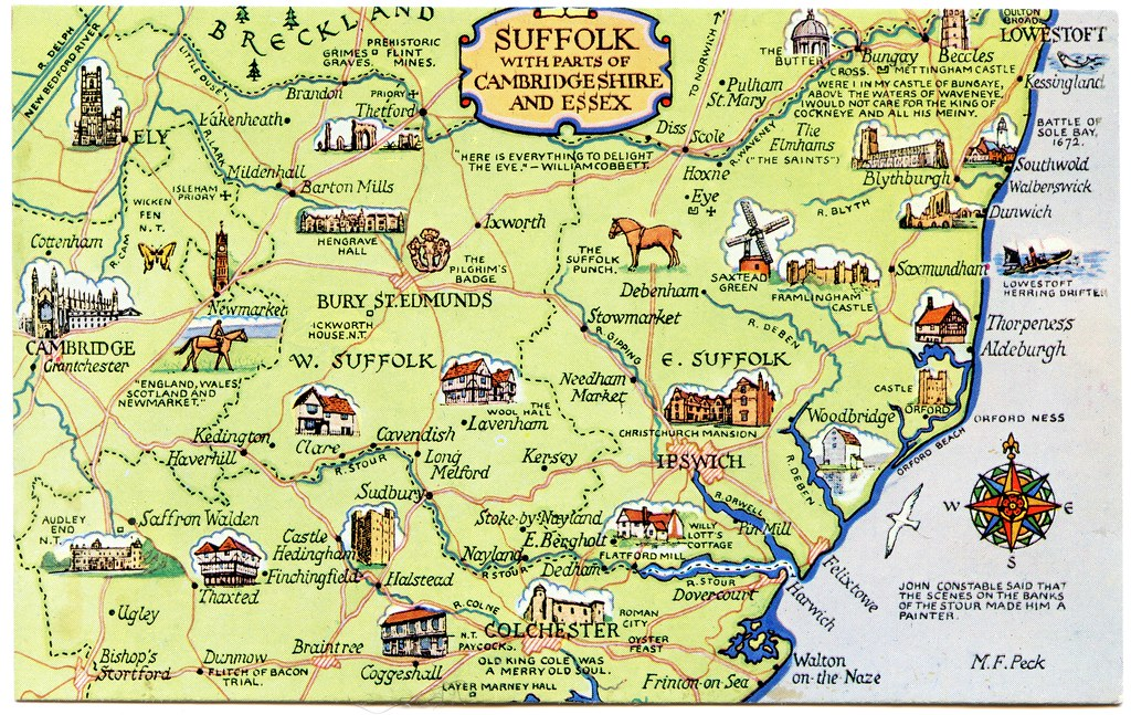 Map Of Suffolk Postcard map of Suffolk with parts of Cambridgeshire and E… | Flickr Map Of Suffolk
