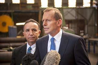 Tony and Andrew Nikolic – Liberal Candidate for Bass, addressing the media at Glasgow Engineering | by Tony Abbott