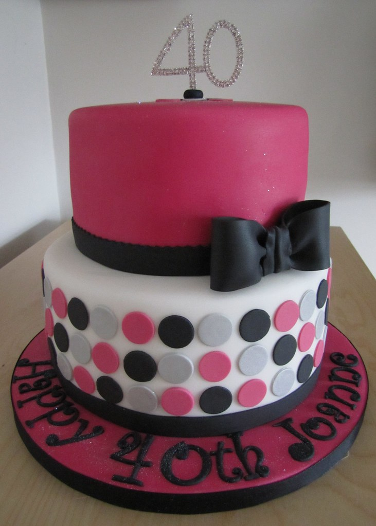Pink Black Silver And White 40th Birthday Cake Chizar183 Flickr