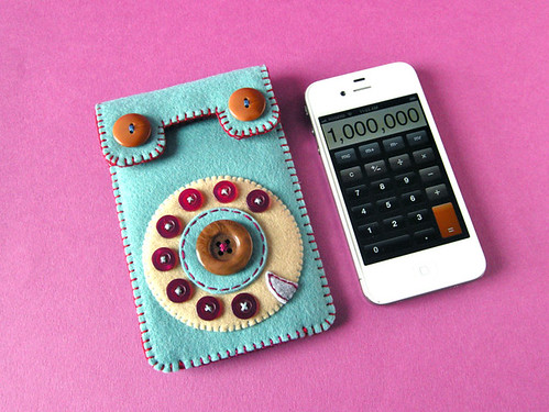 Dial Phone iPhone Case (smoky turquoise & raspberry) | by hine