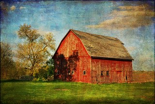 Red Barn with Shadows | by keeva999