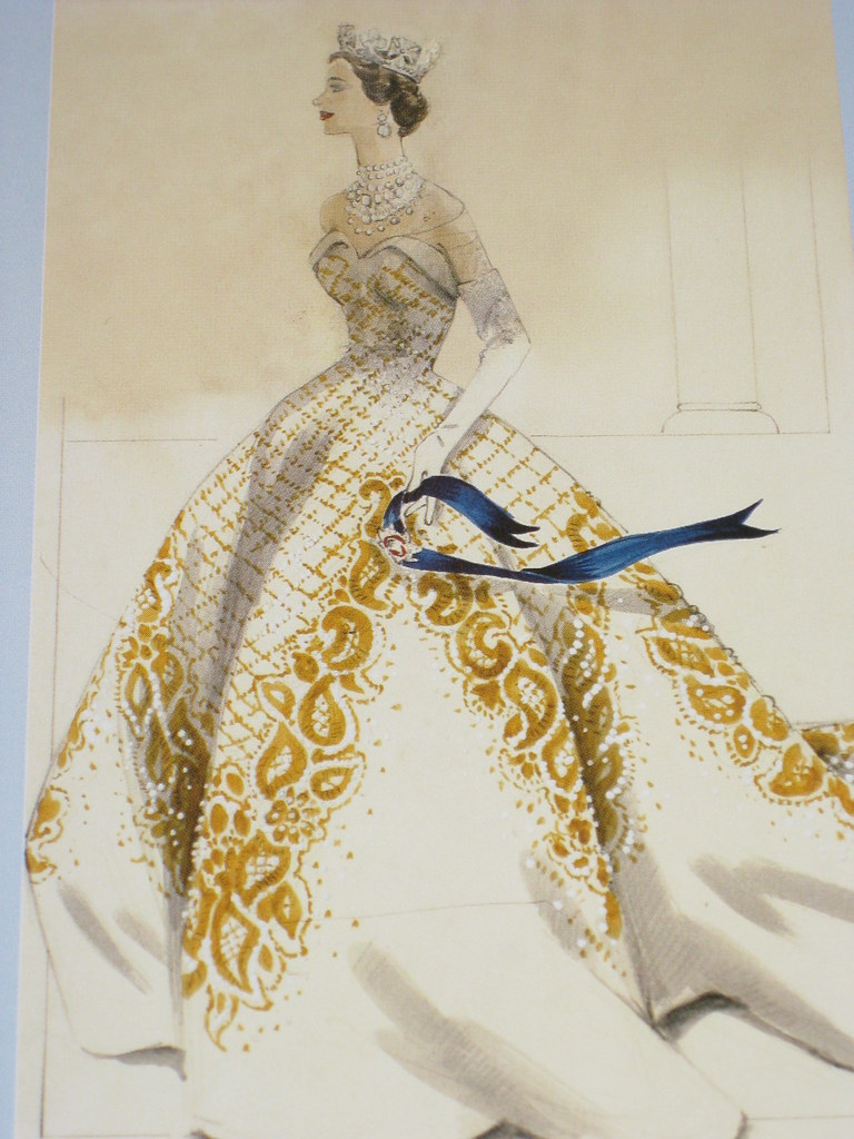 A Design Sketch of the Queen\'s Coronation Gown by Norman H… | Flickr