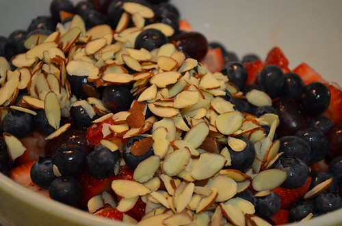 almonds on top of the fruit salad | by myhalalkitchen3