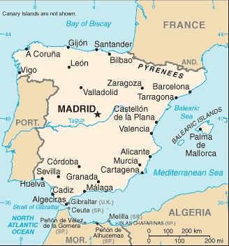 Map of Spain 2012 Orientation map for relative locations Flickr