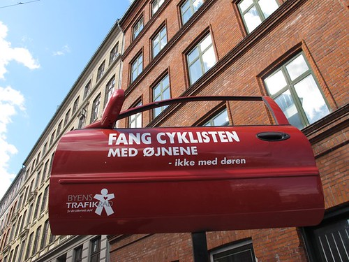 Catch the cyclist with your eyes, not the door! | by Sandra Hoj / Classic Copenhagen