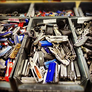 If you ever wondered what happened to you confiscated object at the airport, wonder no more #austin #surplus | by chotda