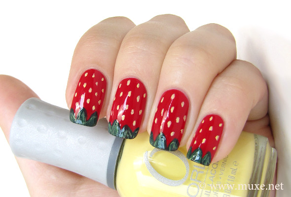 Strawberry Nail Design Cheerful Summer Nail Art Red Bas Flickr