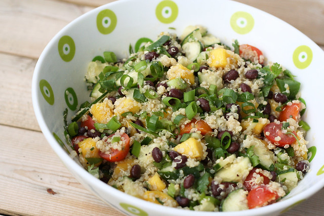 Sprouted Quinoa Salad with Mango, Black Beans and Avocado - Gluten-free + Vegan
