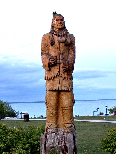 Chief wawatam a wood carving of by local