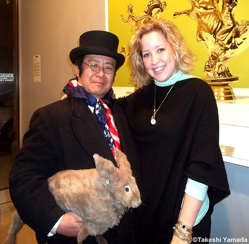 Seara (sea rabbit), Dr. Takeshi Yamada and muse of art at the Chelsea art gallery district in Manhattan, New York on March 1, 2012.   20120301 104 | by searapart12