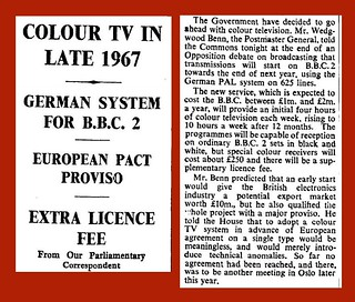 3rd March 1966 - Plans for colour television announced | by Bradford Timeline
