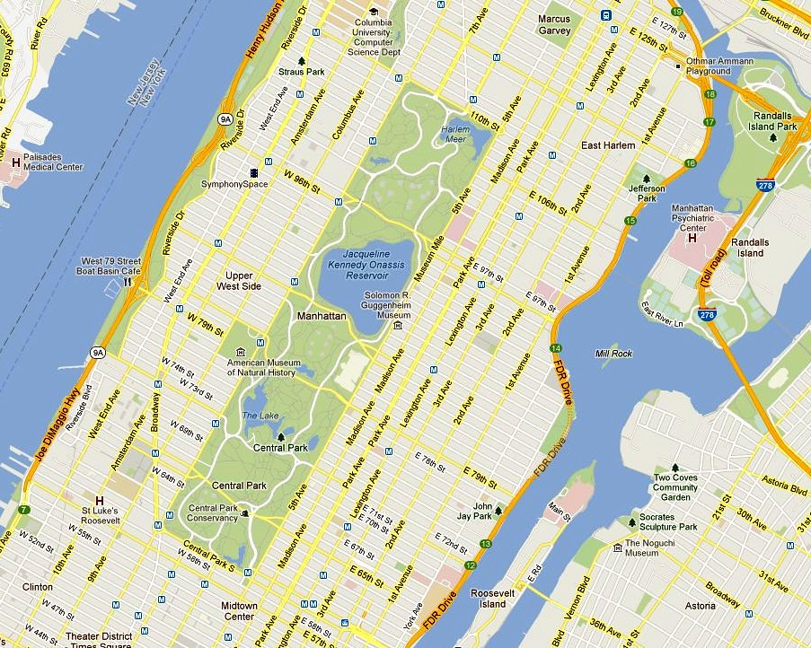 Central Park Map New York City Courtesy Of Google Maps Flickr - New york city map google