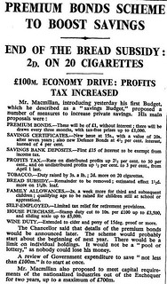 18th April 1956 - Budget : Premium Bonds announced | by Bradford Timeline