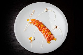 Mezcal-cured ocean trout with cream cheese, orange, and sal de gusanos 04 | by Gilt Taste Plates