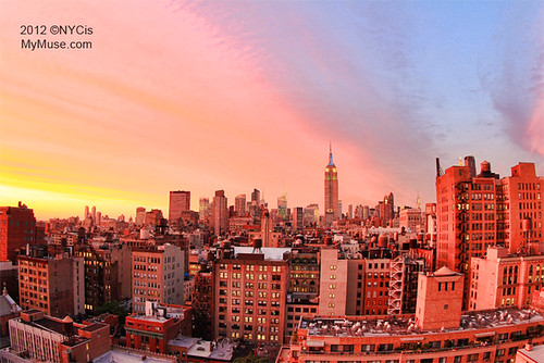 Glorious Rainbow Colored NYC Sunset, Empire State Building in Green, White, Blue | by NYCisMyMuse