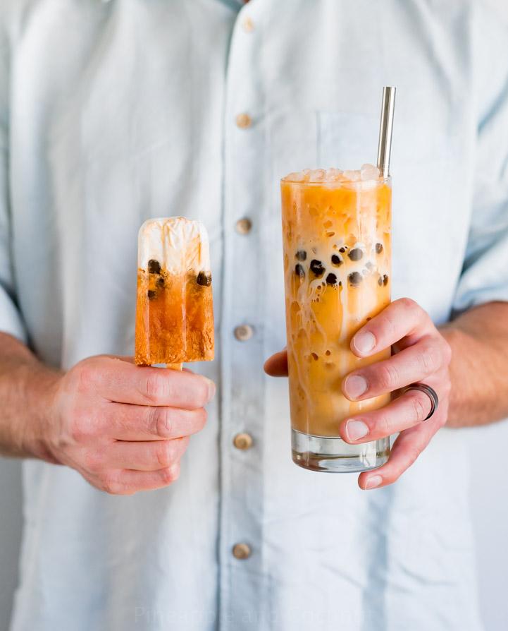 Boba Thai Iced Tea Popsicles www.pineappleandcoconut.com #ad #WorldMarketTribe