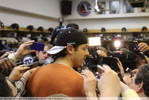 NHL 2012 - Apr 22 - Center Daniel Briere (#48) of the Philadelphia Flyers gets swallowed up reporters in the locker room | by insidehockey
