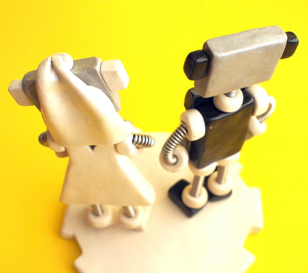 Robot Wedding Cake Topper | Black and White Bots | Commissio… | Flickr