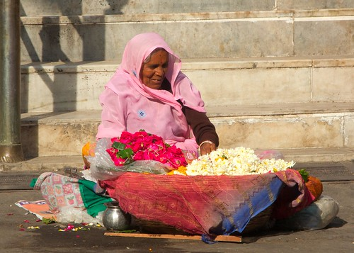 Selling flowers on the temple stairs | by Vesuvianite