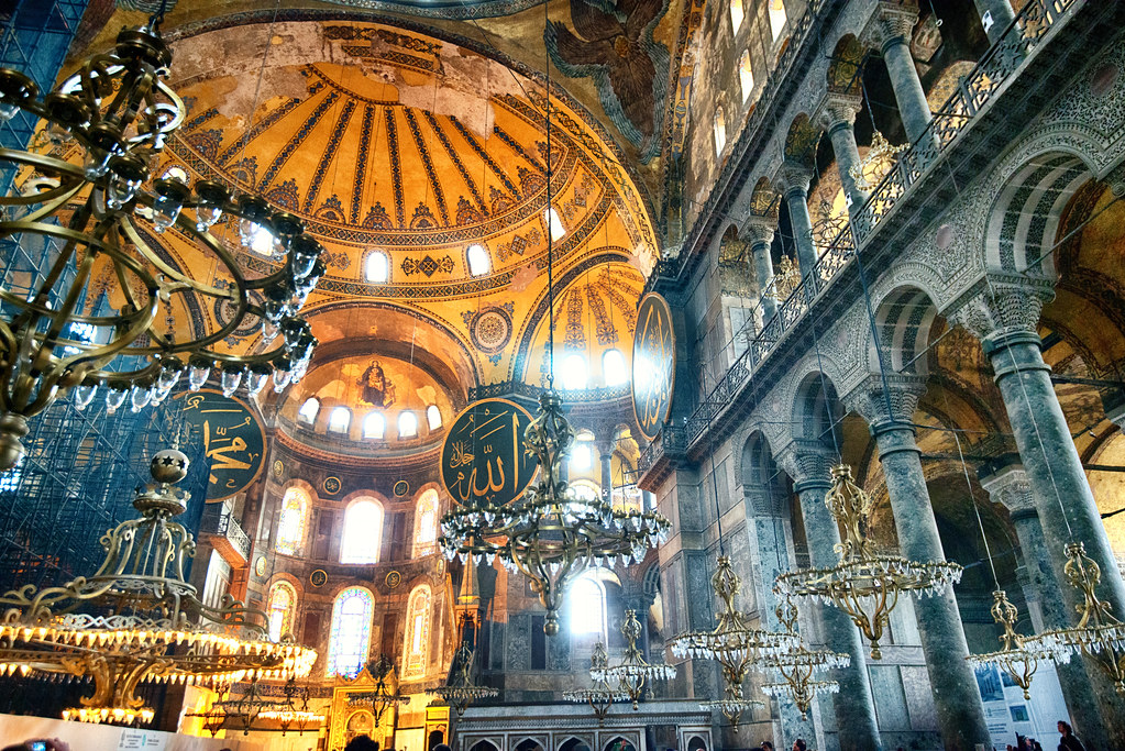 Hanging chandeliers in hagia sophia istanbul turkey by camelkw