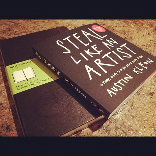 A fresh Moleskine and a copy of Steal Like an Artist by @austinkleon Not a bad way to start a weekend. | by adam_lee_fitzgerald